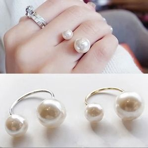 Double Pearl Cuff Ring